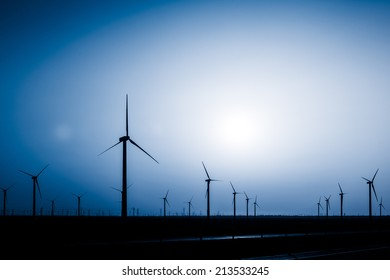 sunset over a windfarm, Sinkiang china.