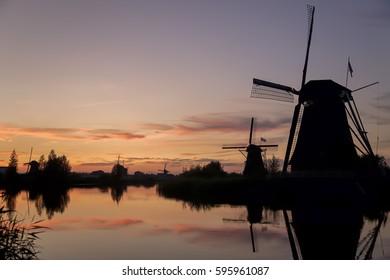 Sunset over the windmills of Unesco World Heritage Site Kinderdijk, Netherlands