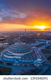 Sunset over Wroclaw aerial view