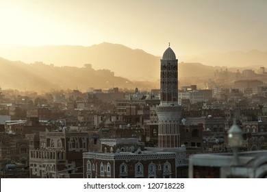Sunset over the Yemeni capital Sanaa