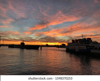 Sunset overlooking the IJ River, Amsterdam waterfront