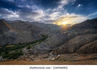 Sunset overlooking Sham Valley in Leh, Ladakh