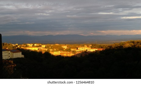 Sunset overlooking town of Caprarola, Province of Viterbo, Lazio, Italy