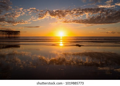 sunset at pacific beah in san diego