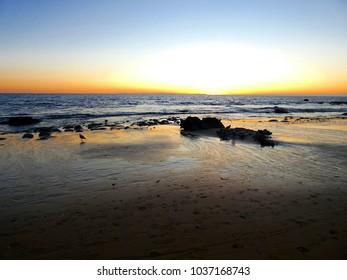 Sunset at Pacific Ocean Coast