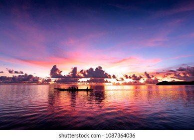 Sunset of the Pacific ocean in Guam