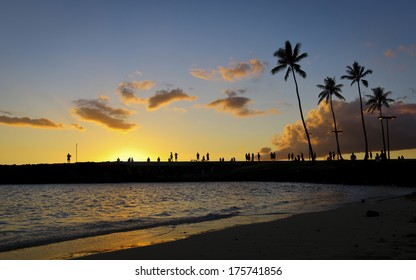 Sunset and palm trees in Hawaii