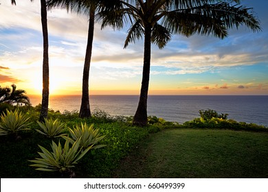 Sunset and Palm Trees in Princeville Kauai, Hawaii