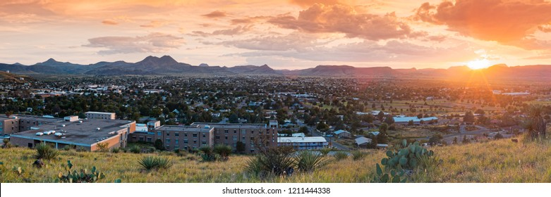 Sunset Panorama of Alpine and Sul Ross State University - Brewster County - Far West Texas