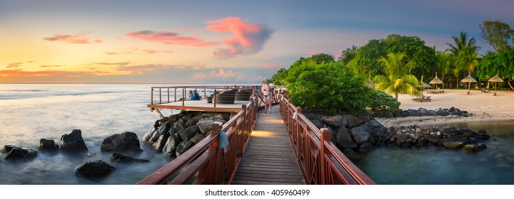Sunset Panorama of a bridge in the north coast of Mauritius