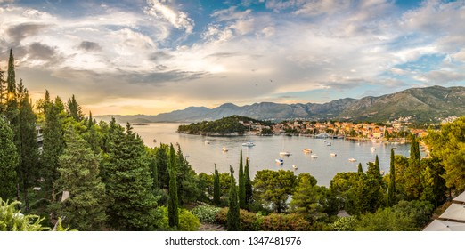 A sunset panorama of Cavtat, little village on one of the many semi-island of the Adriatic cost near Dubrovnik, Croatia