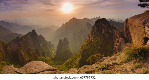 Sunset panorama Huangshan Yellow mountain - Considered the most beautiful mountain in China