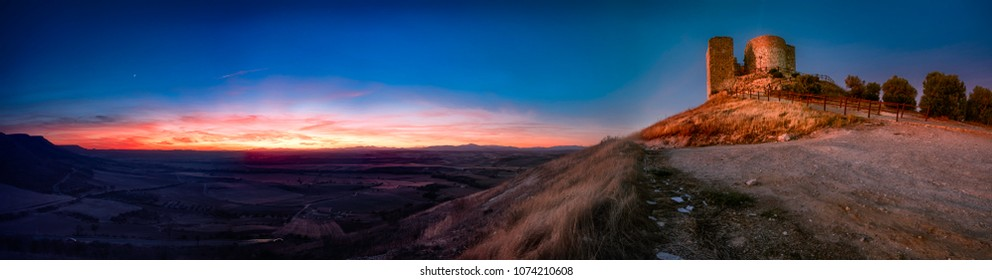 Sunset panorama of the landscape of Castillo de Jadraque, Guadalajara, Spain