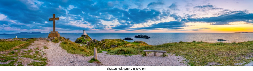 Sunset panorama of Lighthouse on Llanddwyn Island on the coast of Anglesey in North Wales,UK