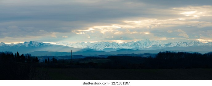 sunset panorama of pyrenees from aude, france