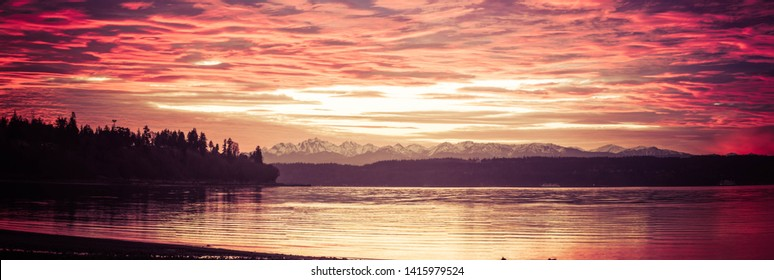 A sunset panorama shot on the Pacific northwest with water in the foreground, an evergreen forest in the middle of the image with distant snow covered mountains.