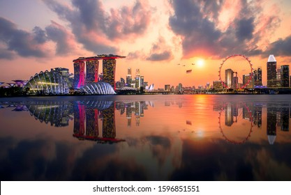 sunset panorama view skyline  Celebrate national day 2019 of Singapore view from garden by the bay in Singapore city, Downtown of Singapore is office buildings and business bank financial