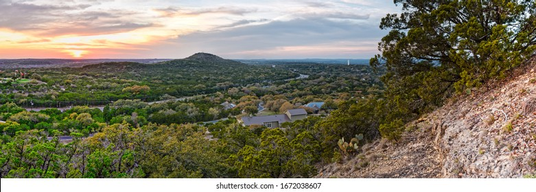 Sunset Panorama of Wimberley and Blanco River Valley from the top of Mt Baldy - Texas Hill Country