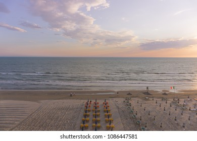Sunset and panoramic view from Durres beach. Blue sky and water of Adriatic Sea.