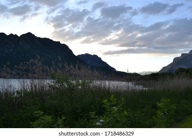Sunset panoramic view to the Lecco mountain range and the lake Como district in summer.