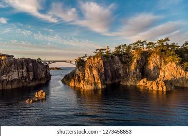 Sunset panoramic view at Senkakuwan Bay marine park.