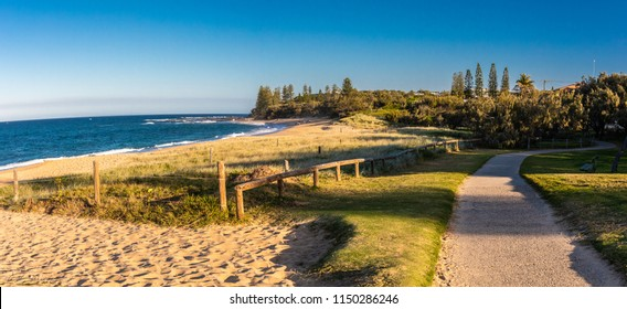 Sunset panoramic view of Shelly Beach at Caloundra, Sunshine Coast, Queensland, Australia