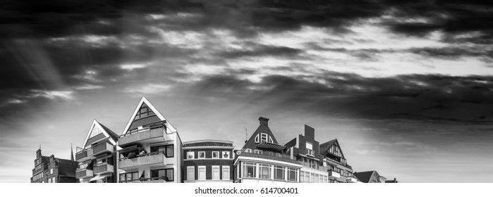 Sunset panoramic view of Travemunde buildings, Germany.