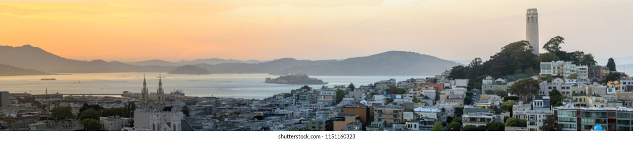 Sunset panoramic views of Telegraph Hill and North Beach neighborhoods with San Francisco Bay, Alcat, USA