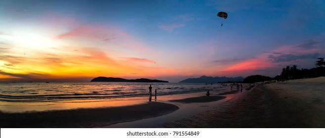 Sunset in Pantai Tengah beach, Langkawi, Malaysia.