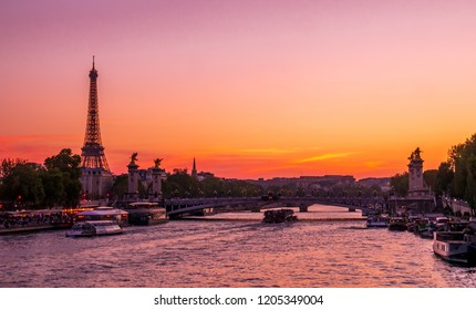Sunset at Paris with Seine river and eiffel tower