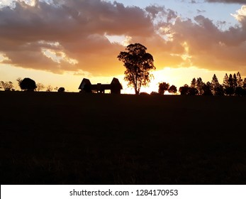 Sunset in the park and ecological city of Garça, Brazil