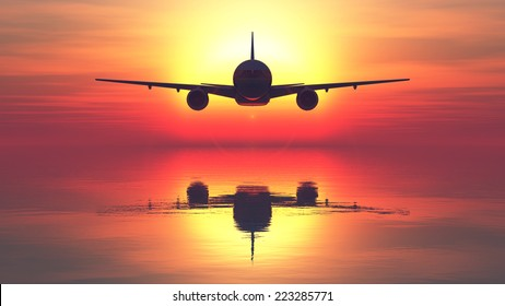 sunset and passenger plane