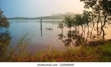 Sunset at Pawna Lake side camping - Lonavala