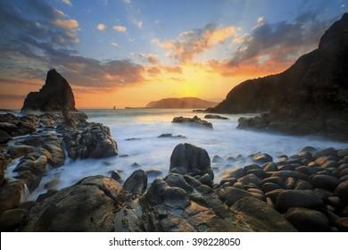 Sunset At Payangan Beach Location Jember East Java
