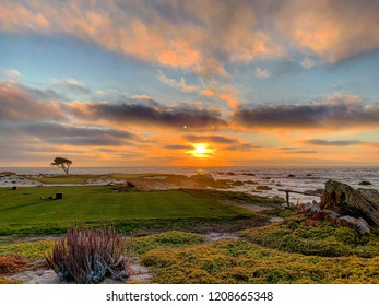 Sunset at Pebble Beach Golf course in Monterey, California.