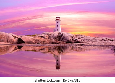 Sunset at Peggy's Cove in Eastern Canada, Nova Scotia