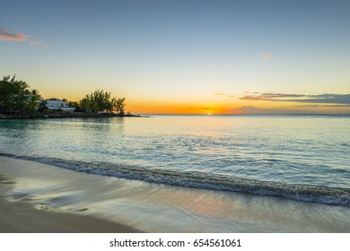 Sunset at Pereybere bay, a Mauritius beach in Grand Baie