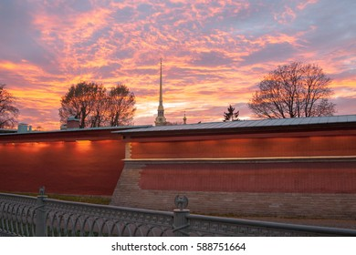 Sunset in the Peter and Paul Fortress