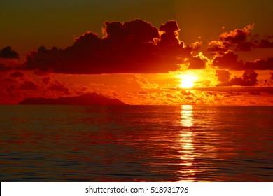 Sunset at the Petite Anse Kerlan, Praslin, Seychelles