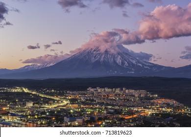 Sunset at Petropavlovsk-Kamchatsky with Koryaksky Volcano