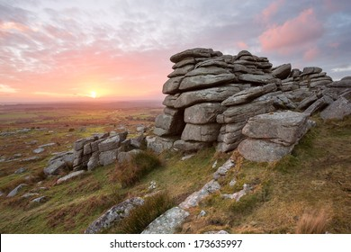 Sunset from Pew Tor Dartmoor National Park Devon Uk