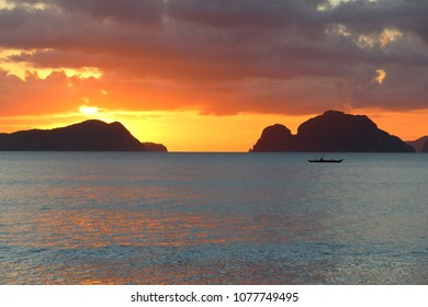 Sunset in Philippines - landscape in El Nido, Palawan island.