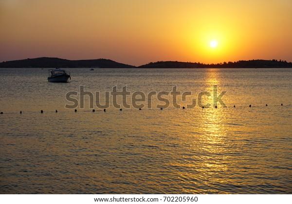 Sunset at  Phokaia (Foca), izmir, Turkey