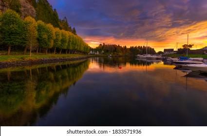 Sunset photo from Alvøen close to Bergen,Norway