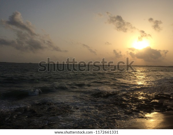 sunset photo at sea is quite beautiful