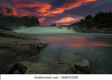 Sunset photo from Vefsna river at Helgeland,Norway