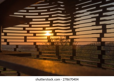 Sunset photographed from the see-through church in Borgloon