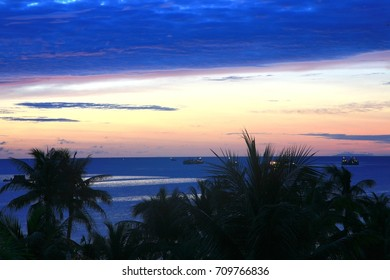 The sunset at  phu quoc island , vietnam