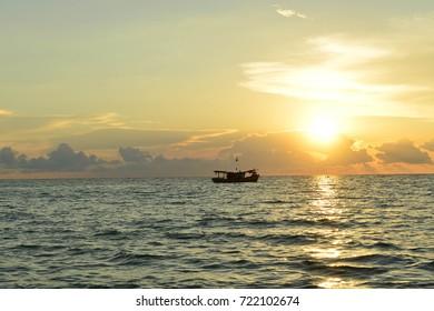 Sunset in the Phuket sea.