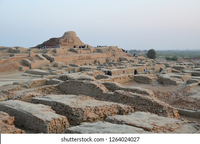 The sunset picture of Mohenjo-daro that  is the UNESCO world heritage site , in Sindh province , Pakistan